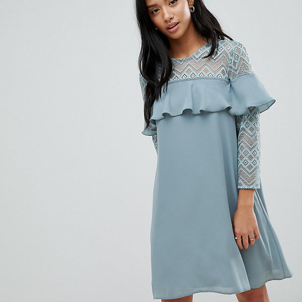 Elise Ryan Petite Shift Dress With Ruffle Detail - Green