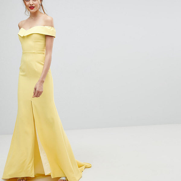 Jarlo Tall Bardot Maxi Dress With Thigh Split And Train Detail - Lemon