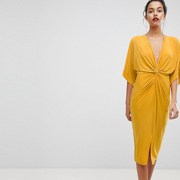 Outrageous Fortune Knot Front Jersey Midi Dress - Mustard