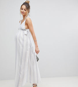 ASOS Maternity Natural Stripe Maxi Beach Dress - White/blue