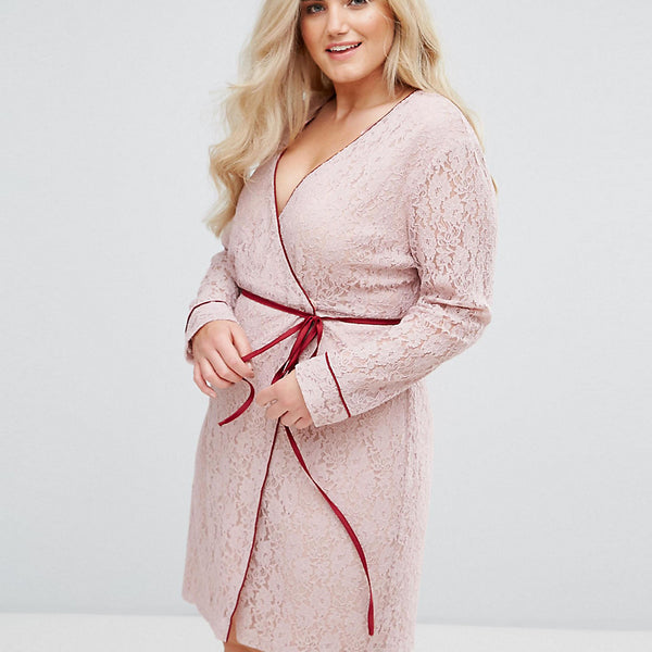 Alice & You Wrap Front Long Sleeve Dress In Lace - Light pink
