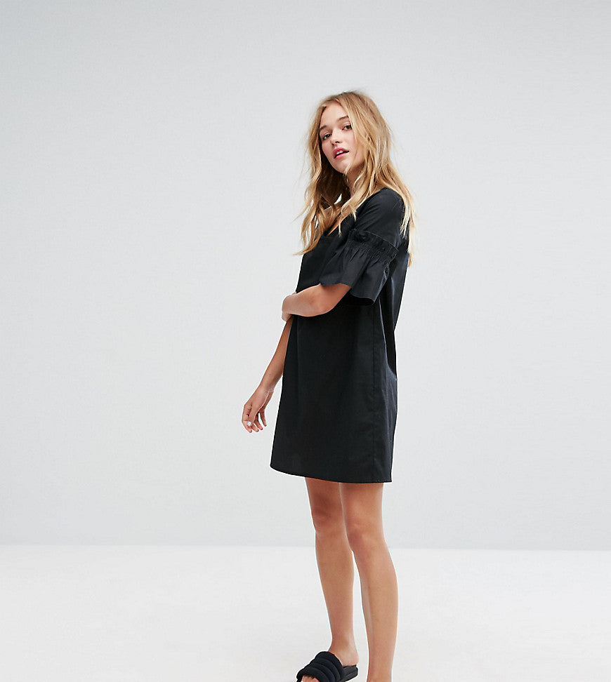 Monki Ruffle Sleeve Poplin Smock Dress - Black