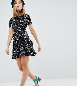 ASOS DESIGN Petite ultimate mini tea dress in scatter spot - Multi