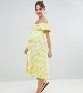 ASOS MATERNITY Off Shoulder Button Through Midi Sundress in Gingham - Multi