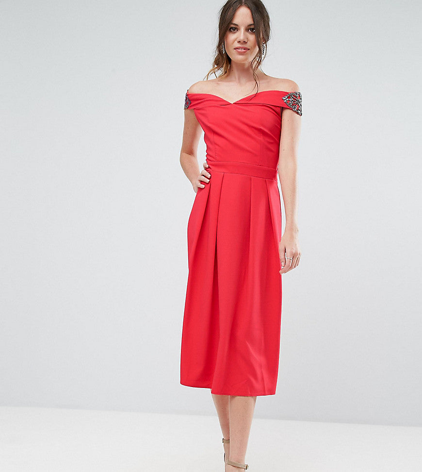 Little Mistress Tall Embellished Off Shoulder Wrap Midi Dress - Cherry