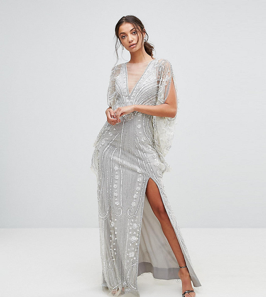 A Star Is Born Tall Embellished Maxi Dress With Cape Sleeves - Silver