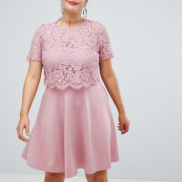 Club L Plus Lace Overlay Scuba Skater Dress - Pink
