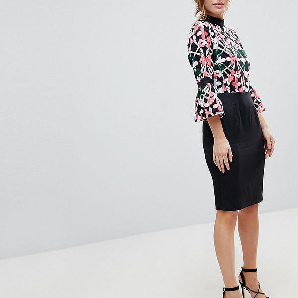 Paper Dolls Petite Floral Printed Top Dress With Contrast Skirt - Multi