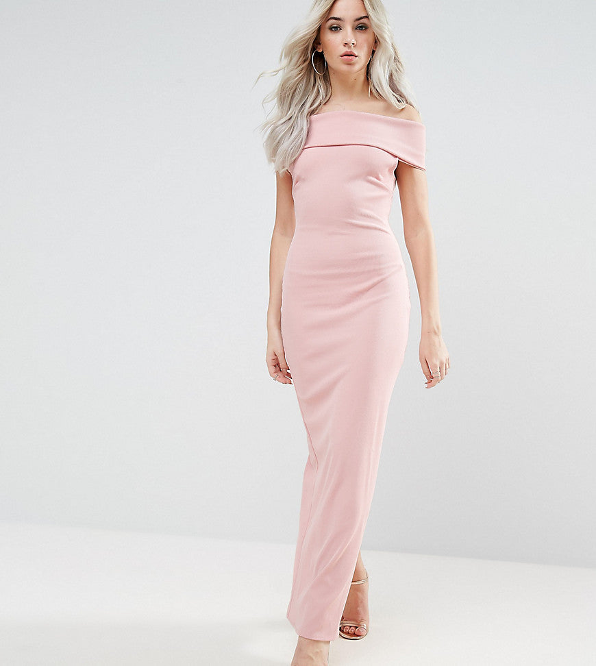 City Goddess Petite Bardot Maxi Dress - Pale pink
