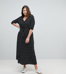 Glamorous Curve Maxi Tea Dress In Polka Dot - Black spot