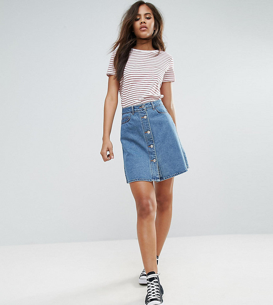 Noisy May Tall Button Front Denim Mini Skirt - Medium blue denim