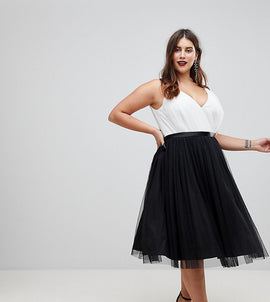 ASOS CURVE PREMIUM Tulle Midi Prom Dress With Ribbon Ties - Black/white