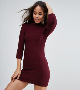 Brave Soul Tall Polo Neck Jumper Dress - Claret