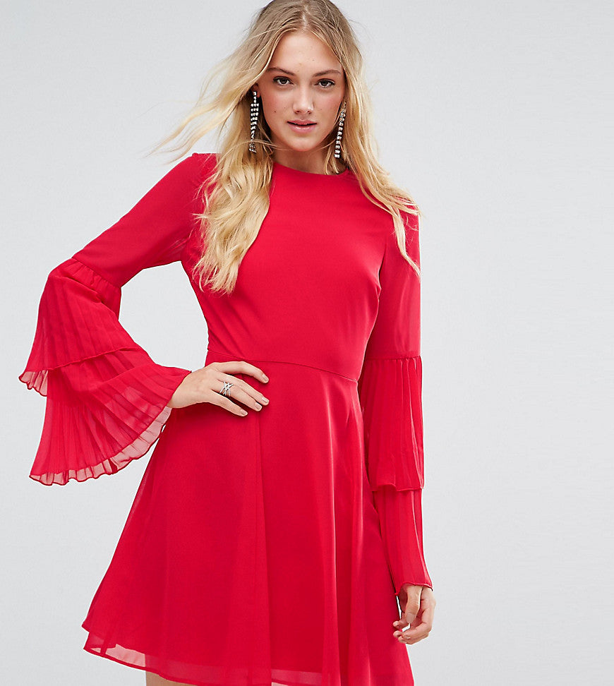ASOS TALL Triple Pleated Sleeve Mini Skater Dress - Red