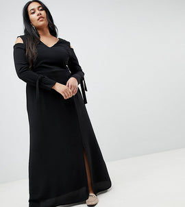 Lost Ink Plus Maxi Dress With Cold Shoulder - Black