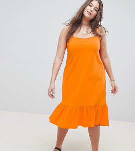 ASOS DESIGN Curve square neck drop hem midi sundress - Bright orange