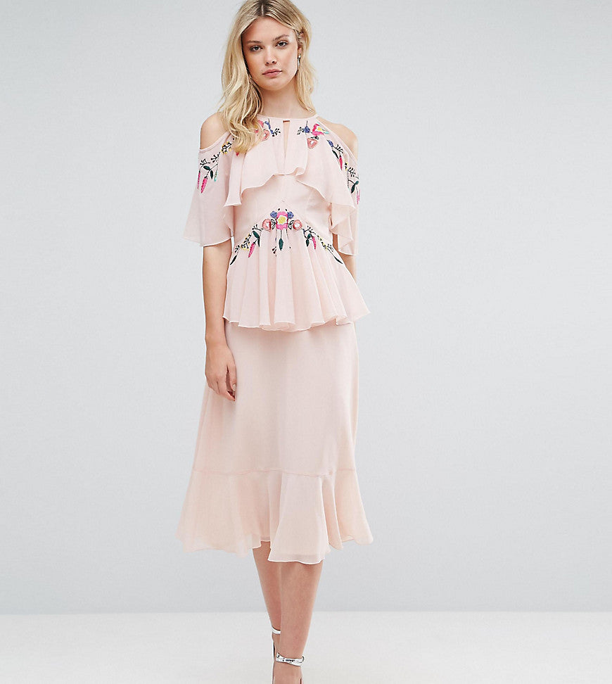 Frock And Frill Tall Floral Embroidered Cold Shoulder Tiered Midi Dress With Open Back Detail - Light pink