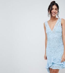 ASOS TALL Corded Lace Plunge Neck Asymmetric Mini Dress - Blue