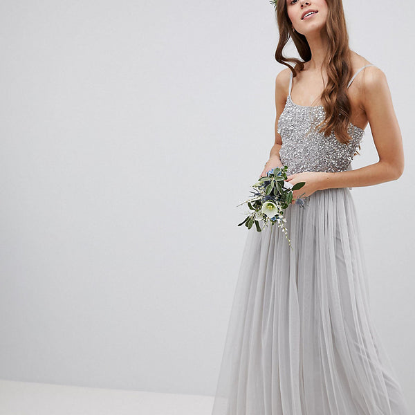 Maya Tall Cami Strap Sequin Top Tulle Detail Maxi Bridesmaid Dress - Micro chip
