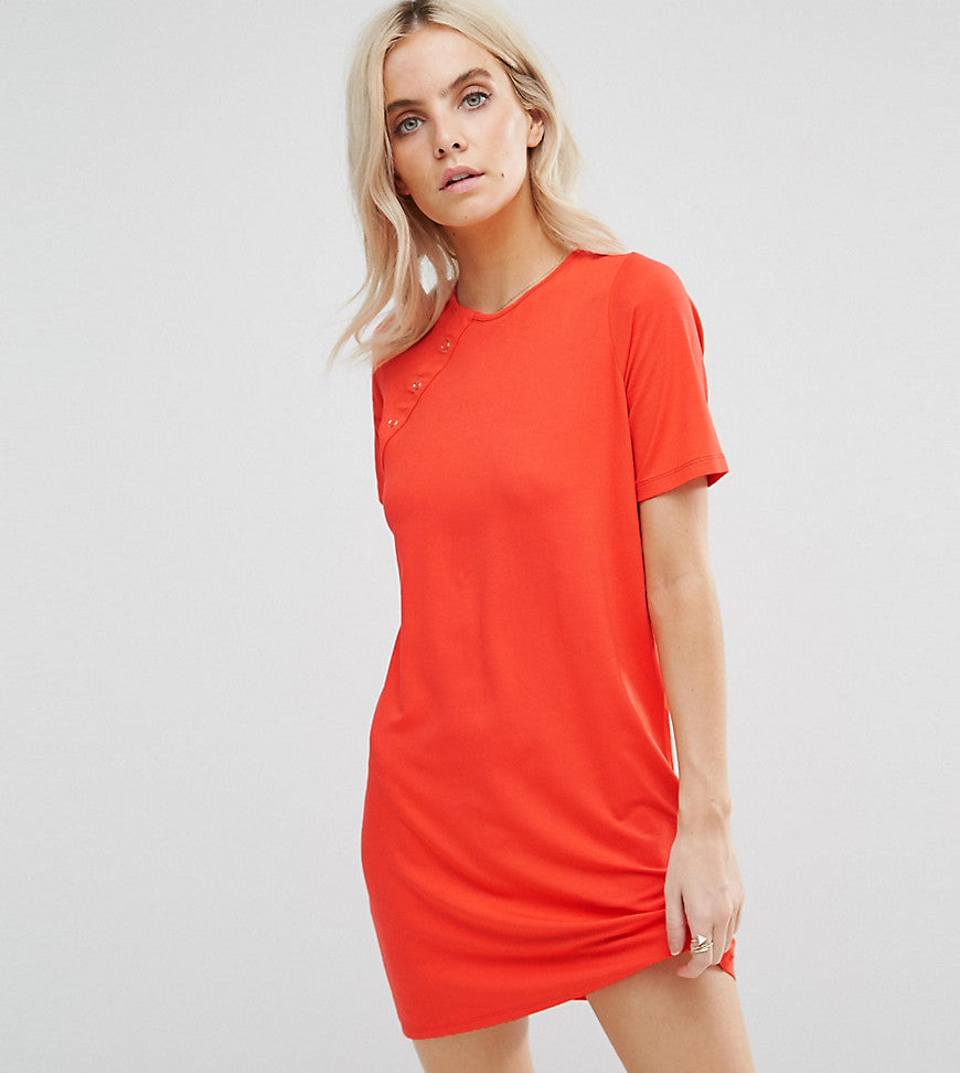 ASOS PETITE Mini T-Shirt Dress with Button Detail - Burnt orange