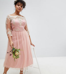 Chi Chi London Plus Premium Lace Midi Prom Dress with 3/4 Sleeve AND Tulle Skirt - Vintage rose/gold