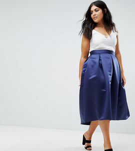 Closet Plus Full Prom Pleated Sateen Midi Skirt - Navy
