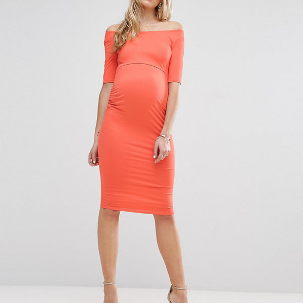 ASOS Maternity Bardot Dress With Half Sleeve - Coral