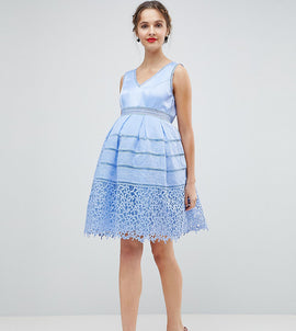 Chi Chi London Maternity Cutwork Lace Prom Dress - Sky blue