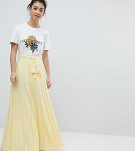 ASOS PETITE Pleated Maxi Skirt with Belt - Yellow