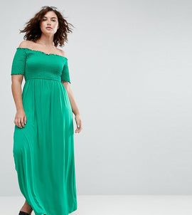 ASOS CURVE Off Shoulder Maxi Sundress with Shirring - Green