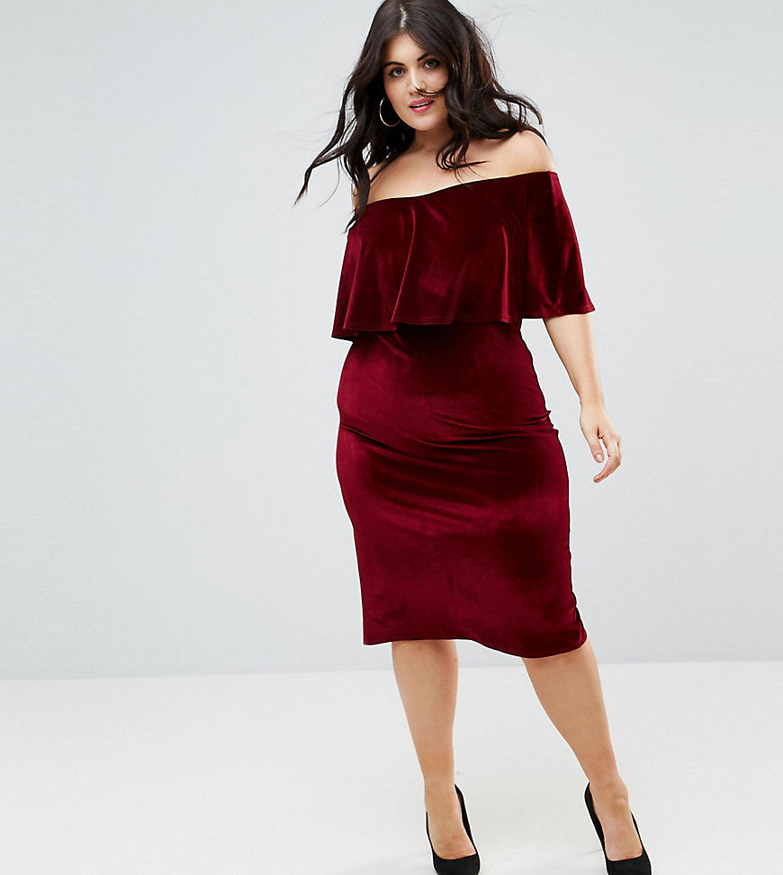Club L Plus Bardot Velour Midi Dress - Burgandy