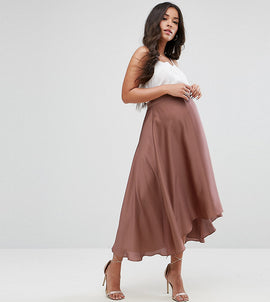 ASOS Maternity Over The Bump Midi Skirt in Satin with Splices - Rose gold
