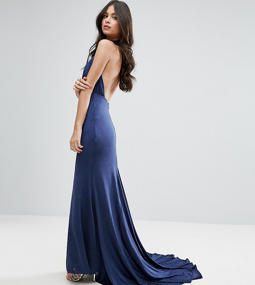 City Goddess Petite Maxi Dress With Open Back - Navy