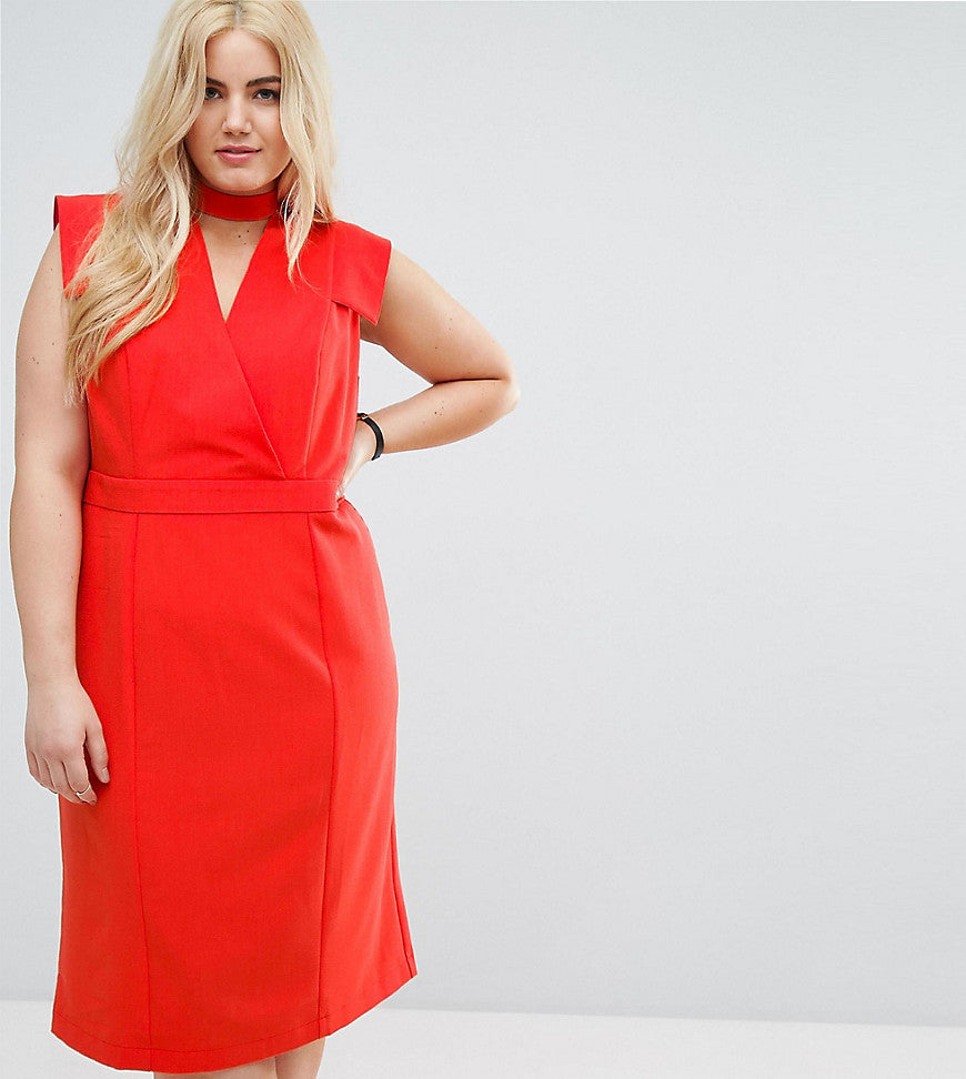 ASOS CURVE Wrap Front Pencil Midi Dress - Red
