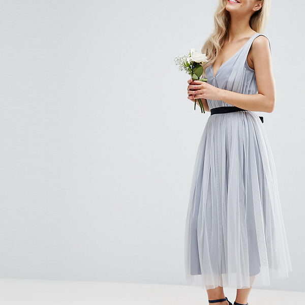 ASOS PETITE WEDDING Mesh Midi Dress With Ribbon Strapping Detail - Blue