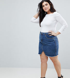 Liquor N Poker Plus Raw Hem Denim Mini Skirt - Vintage midwash
