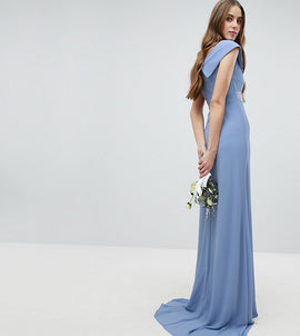TFNC Tall Bardot Maxi Bridesmaid Dress With Fishtail and Embellished Waist - Bluebell