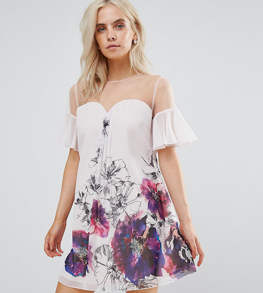 Little Mistress Petite Floral Printed Shift Dress With Fluted Sleeves - Multi