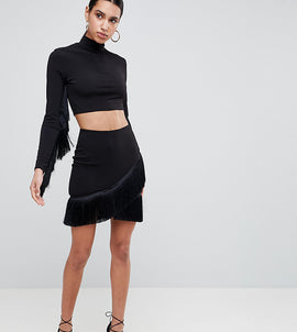 Flounce London Fringe Mini Skirt - Black