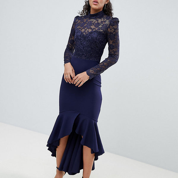 City Goddess Tall Long Sleeve High Neck Fishtail Maxi Dress With Lace Detail - Navy