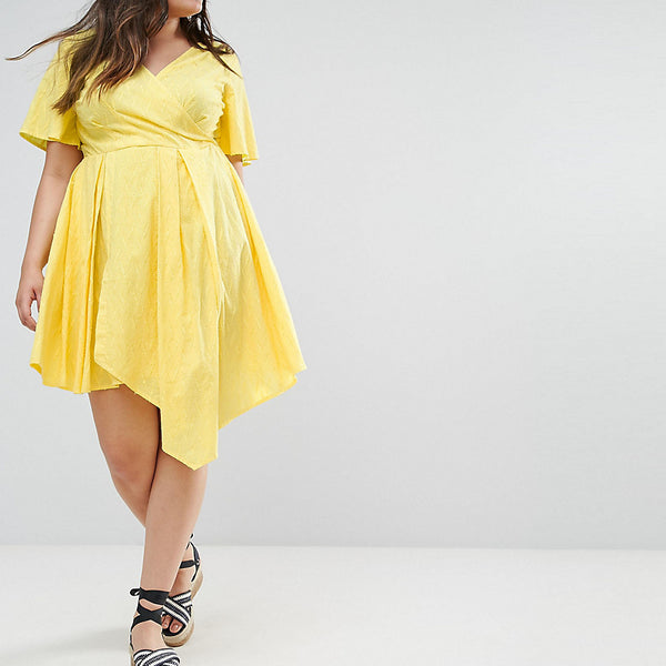 ASOS CURVE Wrap Mini Dress - Yellow