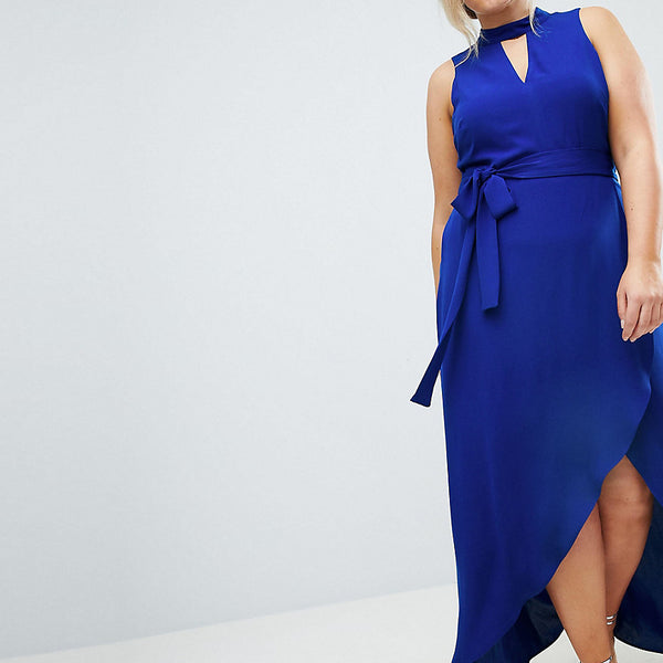 Coast Plus Kimley Tie Up Maxi Dress - Cobalt blue