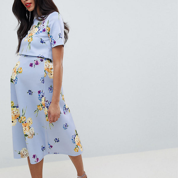 ASOS DESIGN Maternity nursing scuba prom dress with crop top in occasion floral print - Multi
