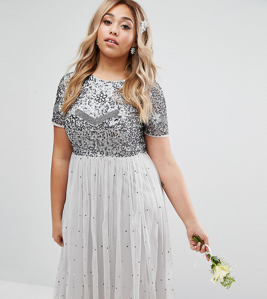 Lovedrobe Luxe Cap Sleeve Floral Embellished Dress With Tulle Midi Skirt - Grey