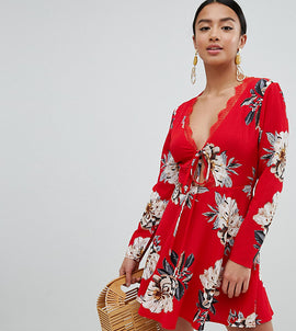Missguided Petite Floral Tie Front Dress - Red
