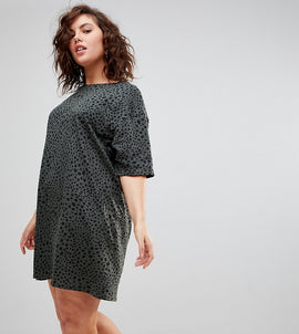 ASOS DESIGN Curve ultimate t-shirt dress in leopard print - Multi