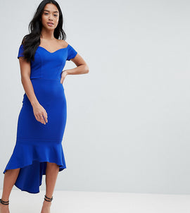 John Zack Petite Off Shoulder Ruffle Midi Dress - Cobalt