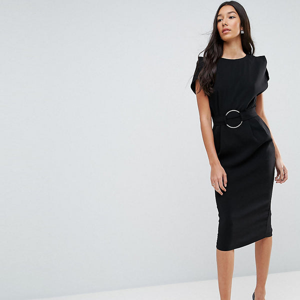 ASOS Tall Split Sleeve Cap Sleeve Midi Dress with Circle Belt - Black