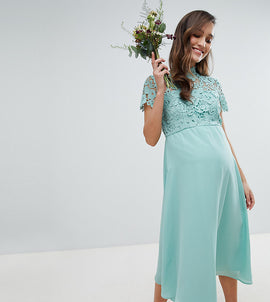 Chi Chi London Maternity 2 in 1 High Neck Midi Dress with Crochet Lace - Green lily