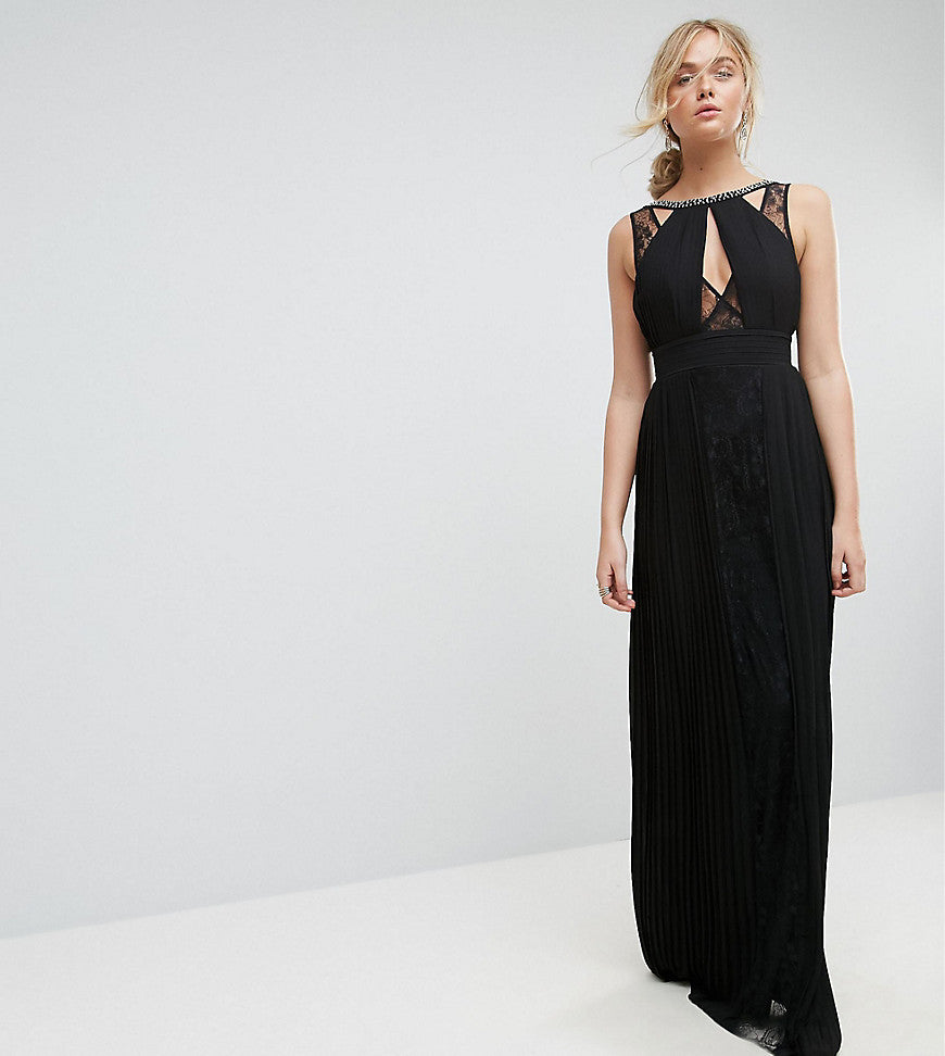 TFNC Tall High Neck Embellished Maxi Dress With Lace Insert - Black